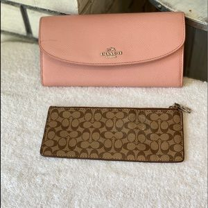 Coach Pink Leather Double Organizer Wallet
